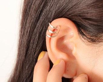 Clip On Ear Cuff, Triple Ear Cuff, Faker Ear Cuff, Silver Ear Cuff, 22921