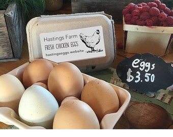 FRESH EGGS Stamp Chicken Egg Stamp Small by SouthernPaperAndInk