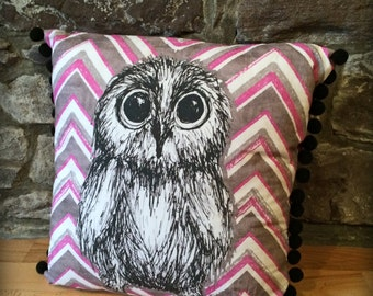 "Cute OWL Print Pillow/Cushion Cover (Free UK Shipping) 15"" square, Pom Pom Trim, Owl Illustration, Wool Back, Decorative Throw Pillow Cover"