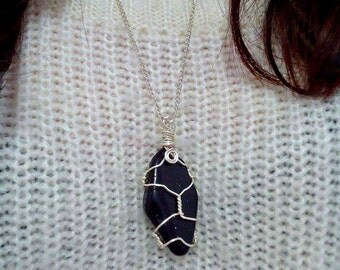 Wire wrapped Blue Goldstone necklace