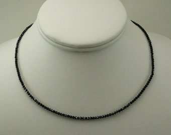 Black Spinel Necklace with Sterling Silver Clasp