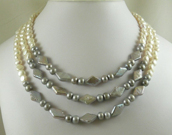 Freshwater White and Gray Pearl Necklace Silver Clasp