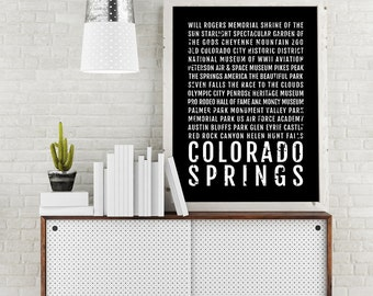 Colorado Springs Print, Colorado Springs Subway Sign Poster, Colorado Wall Art, Décor, Canvas, Gift, Bus Scroll, Typography, Minimal, Custom