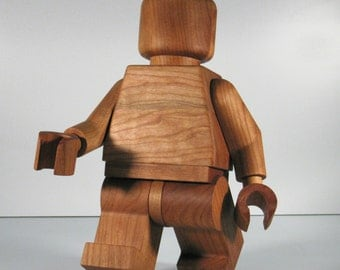 Large Wooden LEGO Man sculpture Cherry