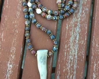 Boho Necklace, Bone Tusk Necklace, Long Beaded Necklace