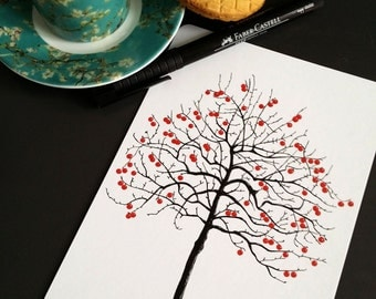 Postcard - Tree with Red Berries