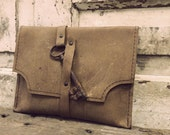 Leatherwork by Anne Meiborg - Brown Leather Clutch with Antique Key