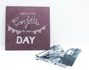 Accordion Book, scrapbooking album dusty pink, hand lettering screen print, add a little confetti