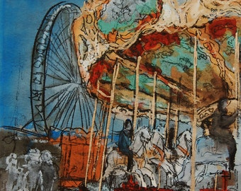 Original painting of carousel, original mixed media of wooden horses, watercolor, gouache, engraving