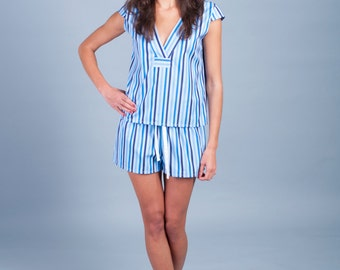 Women's cotton sleep set, blue striped pajamas, cotton loungewear, gift for women, SALE