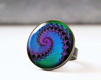 Blue and Purple Ring, Large Statement Ring, Colorful Bohemian Photo Ring, Cabochon ring,  Psychedelic Fractal Ring, 5002-6