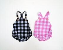 Newborn Infant Boy Girl Twins Matching Rompers, Plaid Baby Girl Boy Onesie, Unisex Suspender Romper, Baby Matching Outfit, Baby Twin Outfit