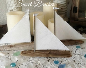 3 White Lace Trim  Linen Driftwood Sailboat Seaside Nautical Resort Decor Wedding Center Peice #44