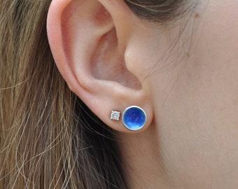 Blue Enamel Stud Earrings.