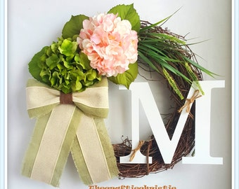 Easter Wreath-Spring Wreath-Burlap Wreath-Burlap Hydrangea Wreath-Front Door Wreath-Front Door Spring Wreath-Grapevine Wreath-Initial Wreath