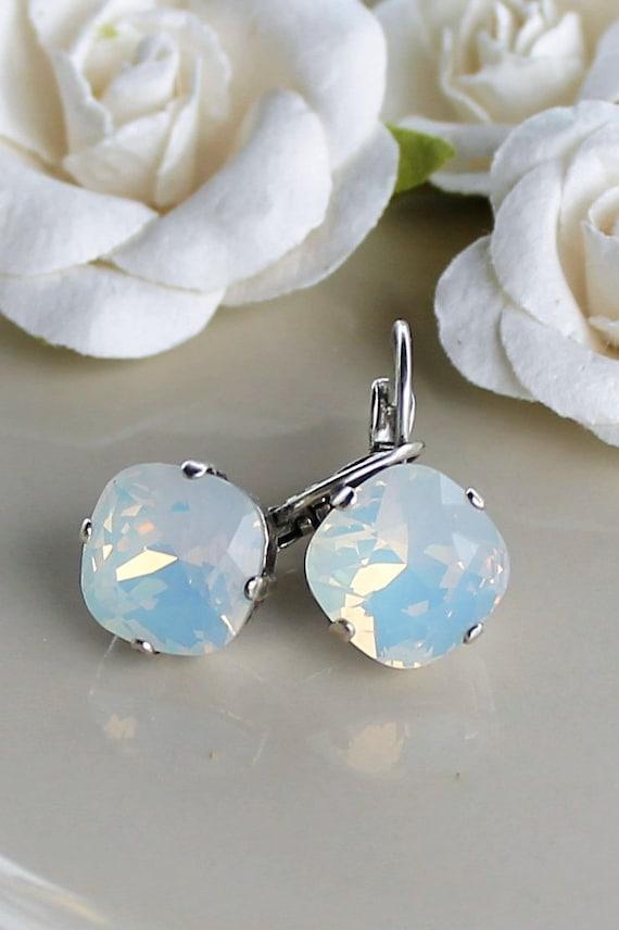 12mm Swarovski Crystal Earrings - in White Opal- beautiful silver lever back setting