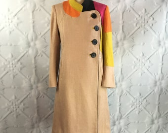 Designer Sonia Rykiel Mod Color Block Coat / Vintage Couture Nehru Collar Asymmetric Hemp Coat Dress / SM