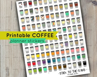 Coffee printable planner stickers patterned coffee planner stickers stripes dots and solids for use with Erin Condren LifePlannerTM