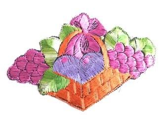 Applique, Fruit, fruit basket applique, 1930s vintage embroidered applique. Vintage patch, sewing supply. #5E6GC4KB
