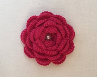 Crochet flowers, crochet appliqués, flower appliqués, embellishments, hot pink rose