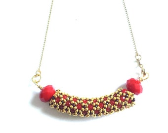 Netting with red crystals, pendant necklace,