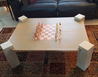 Handmade Coffee Table With Chess Board (includes Stone Chess Set)