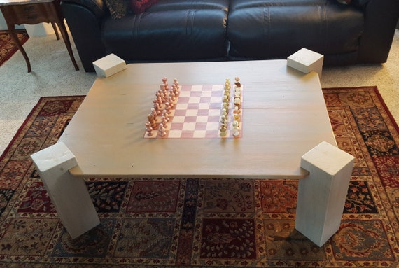 Handmade Coffee Table With Chess Board Includes Stone Chess