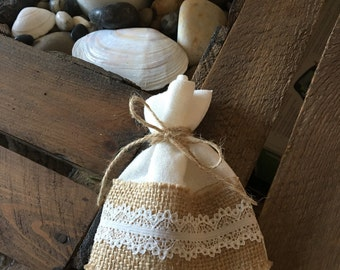 10 Ivory Linen and Hessian & Lace Favour Bags with Rustic Twine