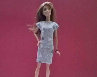 Barbie day dress in natural colors with print