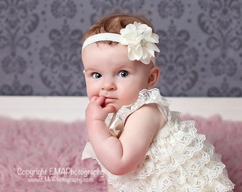 Ivory Chiffon Pearl flower headband, Baby headband, newborn photo prop, headband, toddler headband, shabby chic baby headband