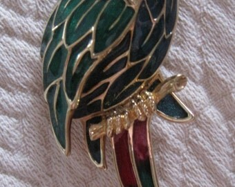 Vintage Enameled and Jeweled Parrot Brooch