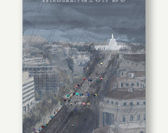 Pennsylvania Ave. Under the Rain - Postcards from Washington DC - See America, Washington Architecture, DC print, illustration of capitol