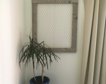 Large chicken wire frame 26x26, 26x32 reclaimed barn board | Cottage chic organizational | Rustic wooden picture photo holder memo board