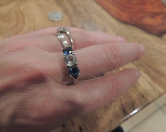 Aquamarine and White Topaz  Ring size 9