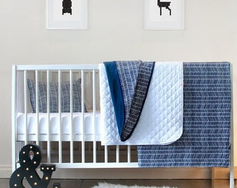 Baby Bedding Baby Nursery Set Boys Nursery Blue Herringbone