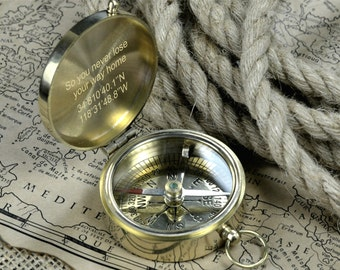 Engraved Compass, Brass Personalized Compas, Valentines Day Gift, Anniversary Gift, Fathers Day Gift,  Nautical Decor Compas, Groomsmen Gift