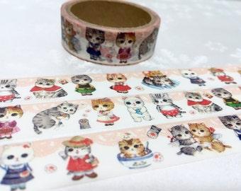happy cat washi tape 5M kawaii cat cartoon cat pretty pussycat masking tape cat planner sticker cat diary scrapbook meow meow gift decor