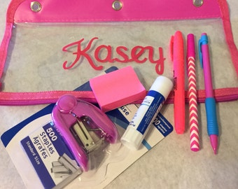 Back to School Personalized Pencil Bag with Supplies!