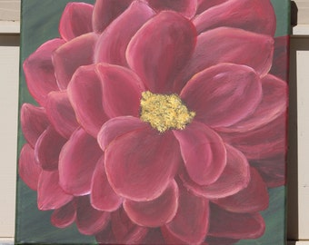 Dark Red Dahlia Bloom: Original Acrylic Painting on Stretched Canvas, 12x12 inches