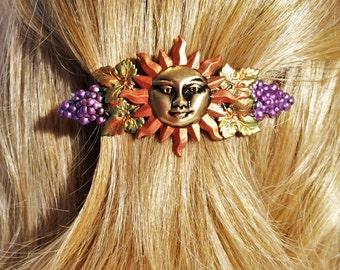 French Hair Barrette Sun, Celestial, Grapevine