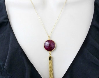Ruby Necklace, Long Necklace, Gemstone Necklace, Stone Necklace,Statement Necklace,Extra Long Necklace,July Birthstone,Pendant Neckalce,Gold