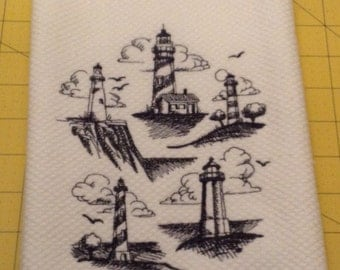 Lighthouse Collage Sketch Williams Sonoma Embroidered All Purpose Kitchen Hand Towel, XL