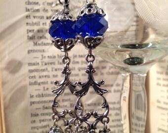 Gothic Indigo Earrings / Victorian Crystal Blue Earrings / Dark Jewelry / Victorian Goth Jewellery / OOAK Leliel Earrings