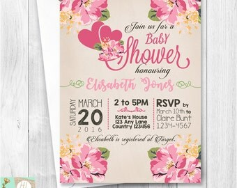Baby Shower Party Invitation Card - Pink Floral | Printable Card | E-Card