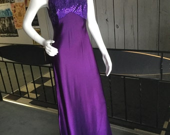 90s purple floor length formal gown