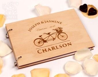 Custom Wedding Guest Book, Wood Rustic wedding guest book, Just Married Book, Tandem Bike Laser Engraved, Custom Wedding Album, Weddings