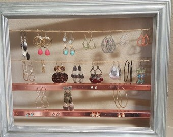 Rustic jewelry organizer for earrings