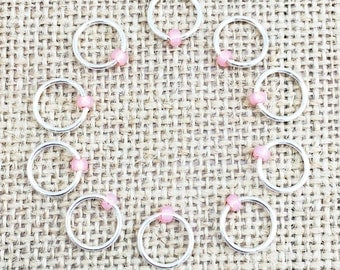Dangle Free Markers, Stitch Markers, Pink Beaded Stitch Marker, Gifts for Knitter, Knitting Tool, Snag Free Stitch Marker