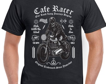 Cafe Racer - Drive Like The Wind - Mens Funny Biker T-Shirt