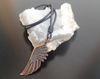 Angel Wing Necklace, wing necklace, Leather Wing Necklace, Mens leather necklace, mens leather cord necklace, Leather Wing Pendant